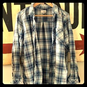 Blue plaid knit button down shirt for women